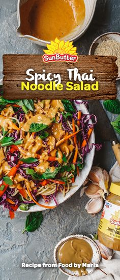 This spicy Thai sunflower noodle salad is super easy to make and allergen free thanks to its plant-based sunflower seed dressing. Lunch Recipes, Real Food Recipes, Salad Recipes, Healthy Recipes, Spicy Thai Noodles, Thai Noodle Salad, Thai Salads, Chili Oil, Plant Based Eating