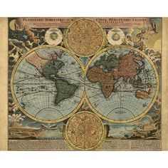 World map wall art 1600 dorm decor mappemonde Art Print by FrenchFineArt - X-Small Antique World Map, Old World Maps, Old Maps, Antique Maps, Posters Vintage, Retro Poster, Vintage Maps, Vintage Ephemera, Vintage Gifts
