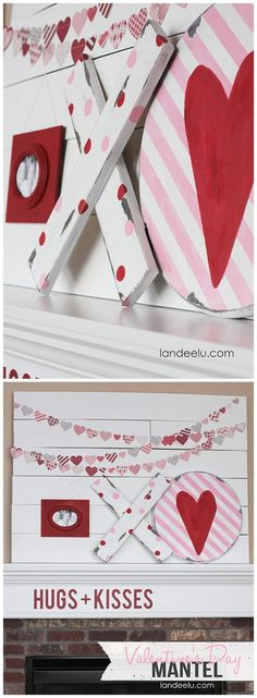 Valentine's Day Mantel: Hugs & Kisses | Love the DIY chippy XOs and heart garland! #hugsandkisses #valentinesdaydecorations #diyvalentinesday #diyvalentinesdaydecorations #valentinesmantels