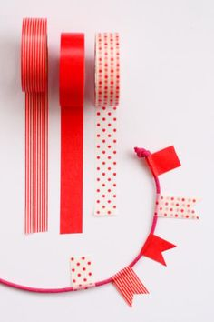 washi tape bunting. just the right size for cake bunting, too.