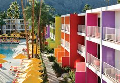 Yes I want to go here because of the rainbow motif - The Saguaro Palm Springs Weekend Trips, Weekend Getaways, The Places Youll Go, Places To Visit, Palm Springs California, California Travel, Amazing Destinations, Cozy House, Trip Planning