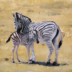 Mother and Child. Oil painting on canvas of a zebra and her calf.  Artist: Charlotte Partridge