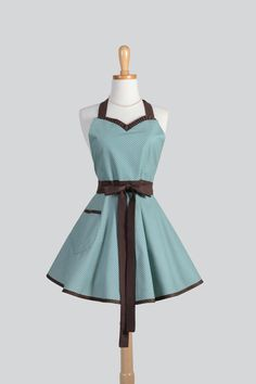 Sweetheart Retro Apron / Dainty Brown Dots on by CreativeChics, $40.00