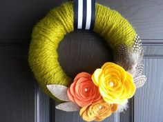 Adorable Fall Wreath for your front door! Gorgeous colors. SparrowNbirch, Etsy Shop.