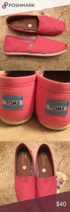 """f4d4a4b4512 Shop Women s Toms Pink size Shoes at a discounted price at Poshmark.  Description  Tom s """"pink lemonade canvas"""" slip ons size This pair has been  worn for ..."""