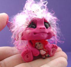Polymer clay little girl monster troll fairy