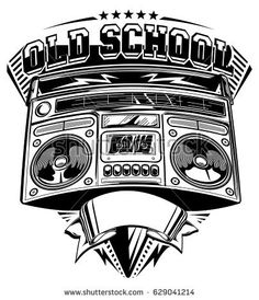 Old school music emblem with boom box