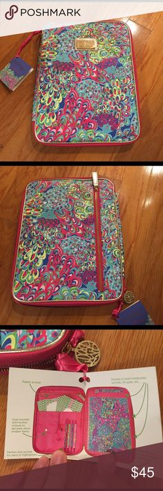 Lilly Pulitzer Agenda Folio Lilly Pulitzer Agenda Folio, featured in Lilly's lagoon, new with tag never used, original clear wrap on gold metal accents, inside has original protective foam padding, has many pockets inside for misc items with places to hold pens, note books, Lilly agendas, etc. A really great gift for someone who loves to be organized! About 10x12in Lilly Pulitzer Accessories