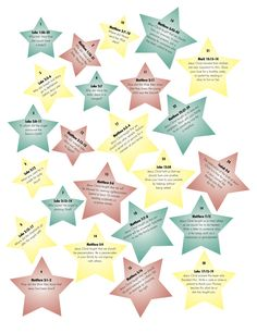 "Second part of ""What is Christmas"" advent calendar.  These are the stars you stick on the chart. another free printable. PS. I printed these on cardstock and laminated them so we could use year after year."