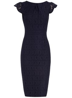 Navy lace pencil dress - Party Dresses - Dresses - Dorothy Perkins United States