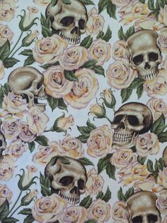 Ivory Roses and Skulls Print Pure Cotton by fabricsandtrimmings