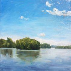 """Hudson River"" by Takeyce Walter Original Oil 10x10"""