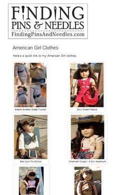 www.findingpinsan...    A page containing links for AG doll clothes tutorials & freebies.