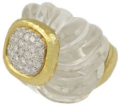 DAVID WEBB Carved Crystal Diamond Ring | From a unique collection of vintage dome rings at http://www.1stdibs.com/jewelry/rings/dome-rings/