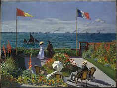 Claude Monet (French, 1840–1926). Garden at Sainte-Adresse, 1867. The Metropolitan Museum of Art, New York. Purchase, special contributions and funds given or bequeathed by friends of the Museum, 1967 (67.241) | Monet painted this canvas in the summer of 1867 in a Sainte-Adresse garden with a view of Honfleur at the horizon.