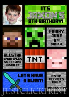 Free Printable Minecraft Birthday Invitations  DelaneyS Th
