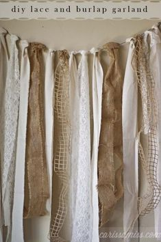 This would look nice as a photo back drop! Carissa Miss: diy burlap and lace garland using the David Tutera Casual Elegance Collection of DIY bridal and wedding decor, crafts and accessories Burlap Garland, Burlap Lace, Fabric Garland, Ribbon Garland, Burlap Decorations, Burlap Curtains, Burlap Backdrop, Wedding Burlap, Rustic Wedding