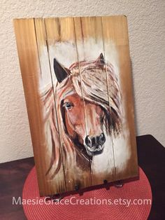 Beautiful Horse Painted on 11 x 17 Wooden от MaesieGraceCreations