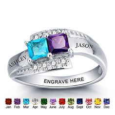 Personalized Simulated Birthstone Rings For Couple Custom Engraved Names Promise Lover Rings For Women 10 ** You can find out more details at the link of the image. (This is an affiliate link)