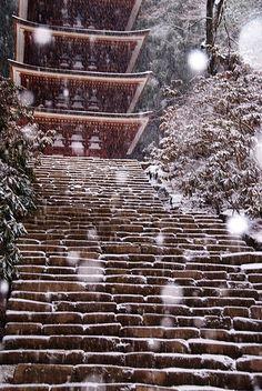 Japan in winter snow Winter In Japan, Photos Voyages, Snowy Day, Stairway To Heaven, Nihon, Japanese Culture, Ikebana, Japan Travel, Stairways