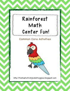 Fantastic First Grade Froggies: Rainforest Centers Math Literacy, Math Classroom, Fun Math, Literacy Centers, Classroom Ideas, Jungle Activities, Rainforest Activities, Math Activities, Rainforest Classroom
