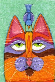 Cat Print Cat with Head Bird Original Design by furthermorepress