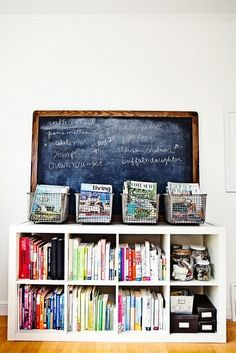 expedit with magazines wire baskets and blackboard. such a great idea