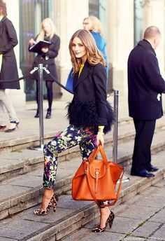 Street Style | Olivia Palermo.  Leopard mixed with floral...love!