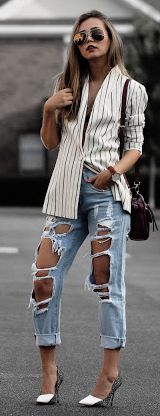 Different Colors & Different Styles Striped Button Up Outfit Idea #Fashionistas