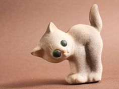 Vintage rubber toy cat soviet rubber doll white by somesoviet