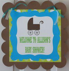 Elegant Baby Blue Green Theme Baby Shower sign