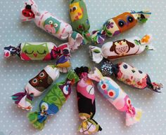 10 Fabric candies for decoration Owls by Delphineif on Etsy, €8.00