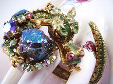 HAR Dragon Bracelet, Green Enamel, Lava Stones & Aurora Borealis,  - 1959 Vintage Costume Jewelry - Book Piece -  Signed