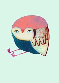 Lovely Owl Owl Poster for kids Illustration art by AshleyPercival, $40.00