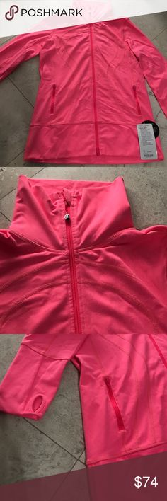 Lululemon Jacket Neon Pink Size 12 Lululemon In Stride Zip up Jacket - Neon Pink - Size- 12 - Two front zippers - Thumbholes on sleeves - New with tags - Any and all offers welcome lululemon athletica Jackets & Coats Utility Jackets