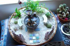 Zen Fairy Garden with lighted water fountain.