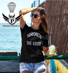 Toronto on is a new T-shirt line from parachutethreads.com it's a cool celebration of Toronto love Vs The World, Hot Shorts, New T, Toronto, Celebration, Short Sleeves, Good Things, Unisex, T Shirts For Women