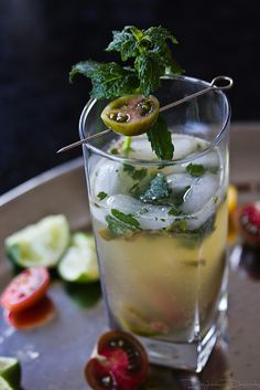 Heirloom Tomato Mojito - Heirloom tomatoes, basil & mint are in this rum cocktail