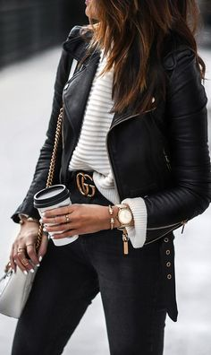 timex watch, sweater, leather jacket, gucci belt