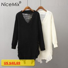 NiceMix 2018 Winter Long V-neck Pullovers Women Casual Solid Ripped Hole Knitted Sweaters Loose Plus Size Jumpers Autumn Tops