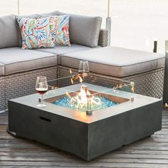 COSIEST Outdoor Propane Fire Pit Coffee Table w Greyish-Green Square Faux Stone Planter Base, BTU Stainless Steel Burner,Wind Guard, Tank Outside, Free Lava Rocks and Waterproof Cover Fire Pit Coffee Table, Gas Fire Pit Table, Outdoor Fire Pit Table, Glass Fire Pit, Round Fire Pit Table, Deck Fire Pit, Outdoor Propane Fire Pit, Soho Loft, Cozy Sofa