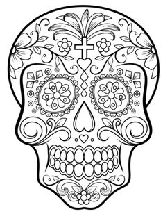Sugar Skull coloring page from Day of the Dead category. Select from 20946 printable crafts of cartoons, nature, animals, Bible and many more.