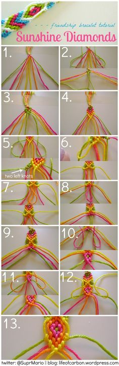 Friendship Bracelet pattern, love the top color combo