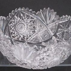 Signed Libbey American Brilliant Period hand Cut Glass bowl T