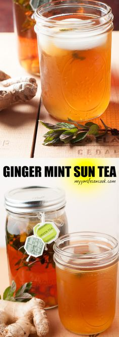 Summer afternoons are perfect for this Ginger Mint Sun Tea. And it doesn't get much easier in terms of preparation then making this sort of tea. Grab a quart mason jar, your favorite tea, some sprigs of mint, some diced ginger, add some water and let the sun do the rest. A few hours later and you'll be sipping delicious sun tea...preferably poolside, but a rocking chair on a shaded porch works as well. And enjoy your beverage free of guilt, tea has a lot of great health benefits!