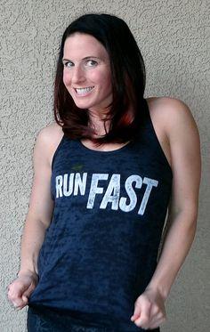 Run Fast Racerback Burnout Tank Top Sizes S M by sharksbitesoflife, $25.00