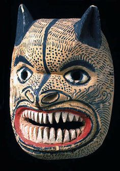 Tigre mask  Guerrero    8 inches, painted    Throughout Mexico one finds dances about fearsome man-eating jaguars, which may be holdovers from before the Spanish conquest. In preColumbian traditions these dances had the purpose of petitioning the jaguar god, the lord of all animals, so that he would permit successful hunting for the villagers. As a result of this historical-cultural background, the jaguar symbol became amalgamated or confused with that of the tiger, which is why these days it