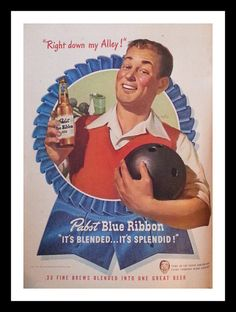 Vintage 1940s PBR Pabst Blue Ribbon Ad Bowling.  Man Cave material.  Happy Bowler.