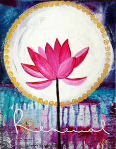 Lotus Painting  Lotus Print  Full Moon by CorinnaMaggyArts on Etsy