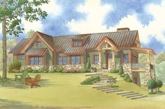 Craftsman Style House Plan - 2 Beds 3 Baths 1329 Sq/Ft Plan #923-23
